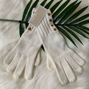 Michael MK cream knit gloves